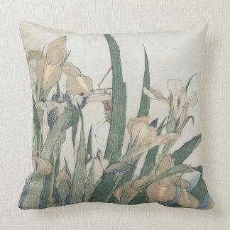 Iris Flowers and Grasshopper, c.1830-31 Throw Pillow