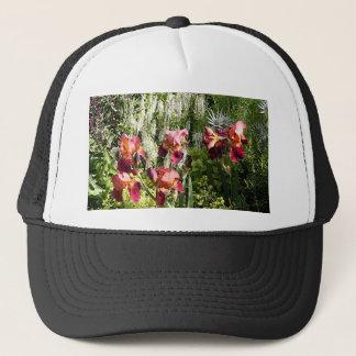 Iris flowers in garden trucker hat