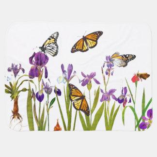 Iris Flowers Monarch Butterflies Baby Blanket