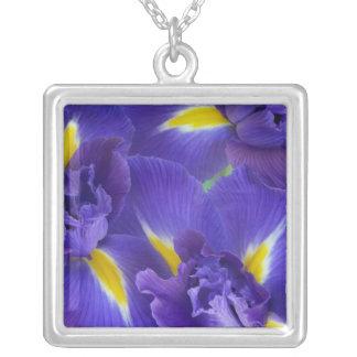 Iris flowers square pendant necklace