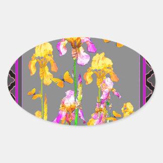 Iris garden Black-Grey lattice Pattern Art Oval Sticker
