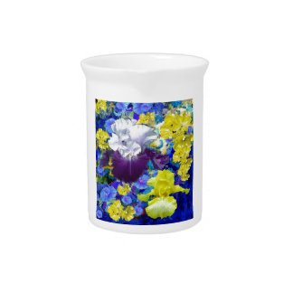Iris Garden Yellow  Gifts by sharles. Drink Pitcher