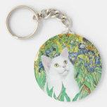 Iris - gato blanco llavero personalizado