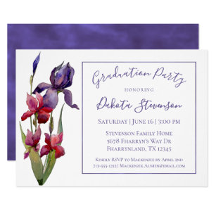 Passion party invitations announcements zazzle iris graduation party violet purple pink flower card stopboris Gallery