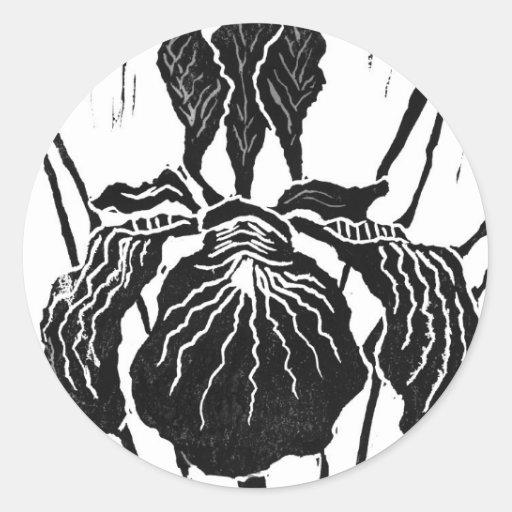 Iris - impresión de bloque pegatina redonda