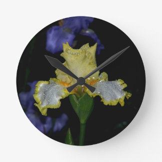 Iris In The Night Rain Round Clock