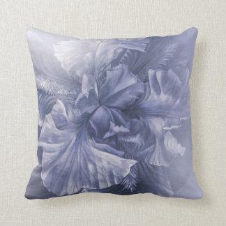 Iris inner beauty (silver blue hues) throw pillow
