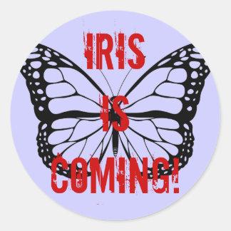 Iris is coming! classic round sticker