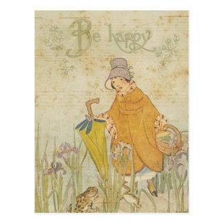 Iris lindo de la charca de la rana de las historia postales
