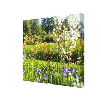 Iris N Daylilies Wrapped Canvas Prints