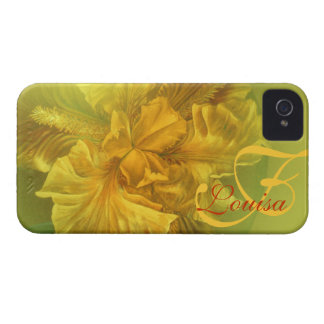 Iris nombrado caja amarilla floral del arte Case-Mate iPhone 4 fundas
