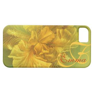 Iris nombrado caja amarilla floral del arte funda para iPhone 5 barely there