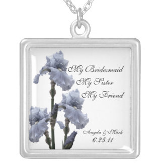 Iris of Blue Bridesmaid Gift Silver Plated Necklace