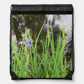 Iris on the Water Edge Drawstring Backpack