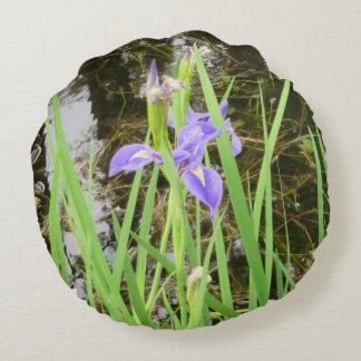 """Iris on the Water Edge Round Throw Pillow (16"""")"""