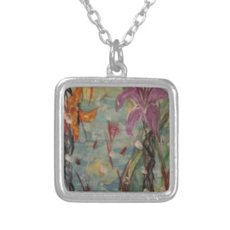 Iris- Original abstraction style acrylic painting Square Pendant Necklace