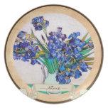 Iris por la pintura de la bella arte de la flor de plato para fiesta