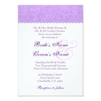 Iris Purple and White Damask Wedding 2 Card