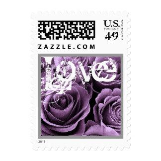 IRIS PURPLE Love Rose Wedding Stamp