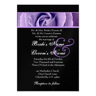 Iris Purple Rose and Black Background  Wedding Card