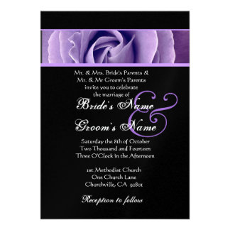 Iris Purple Rose and Black Background  Wedding Personalized Announcement