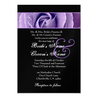 Iris Purple Rose and Black Background Wedding V2 Card