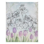 Iris Purple Tulip Watercolor Flowers Collage Poster
