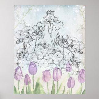 Iris Purple Tulip Watercolor Flowers Collage Poster