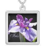 Iris púrpura azul gigante collar personalizado