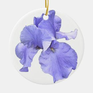 Iris púrpura barbudo alto adorno navideño redondo de cerámica