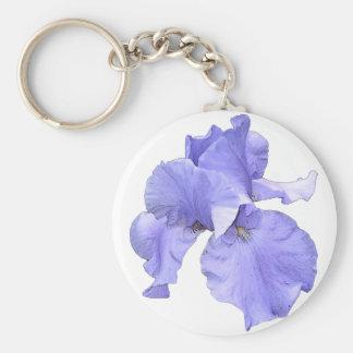 Iris púrpura barbudo alto llavero redondo tipo pin