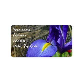 Iris púrpura etiqueta de dirección