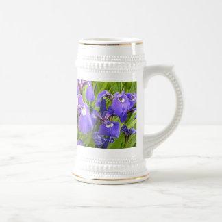 Iris púrpura jarra de cerveza