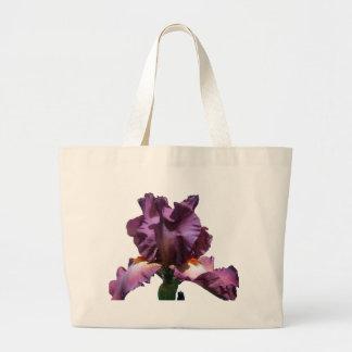 Iris púrpura llamativo bolsa tela grande