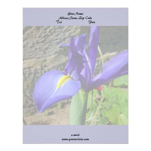 Iris púrpura membrete personalizado