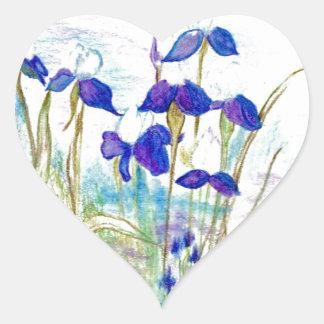 Iris púrpura pegatina en forma de corazón