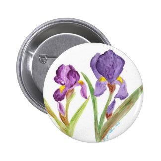 Iris púrpura pin redondo de 2 pulgadas