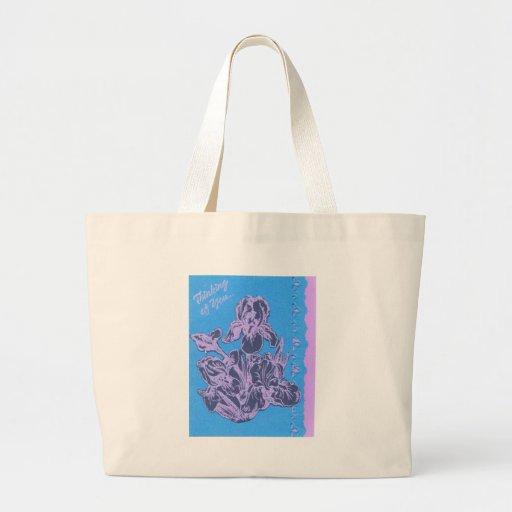 Iris púrpura que piensa en usted arte del jardín d bolsa tela grande