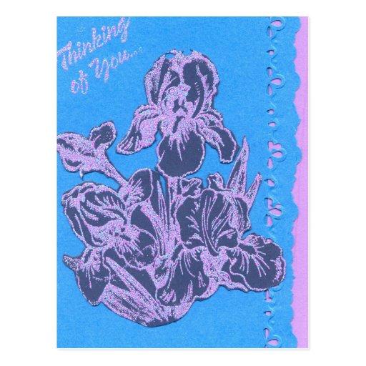 Iris púrpura que piensa en usted arte del jardín d tarjeta postal