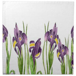 Iris púrpura servilletas imprimidas