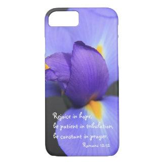 Iris púrpura, verso de la biblia sobre la funda iPhone 7