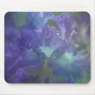 Iris púrpura y azul suave elegante hermoso alfombrillas de ratón