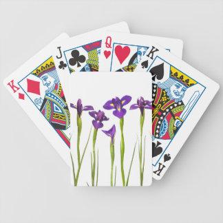 Iris púrpuras aislados en un fondo blanco baraja de cartas bicycle