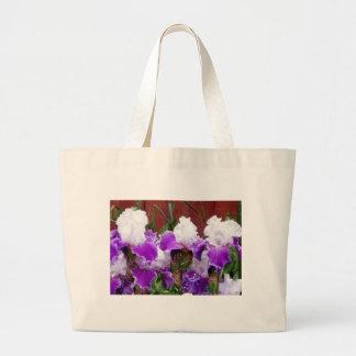 Iris púrpuras y blancos bolsa
