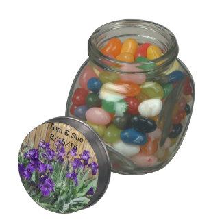 Iris que casan el tarro del caramelo del favor jarrones de cristal