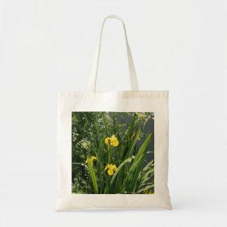 Iris que crecen en la orilla del río en el banco d bolsa