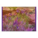 Iris rosado y anaranjado del rezo de la serenidad tarjeton