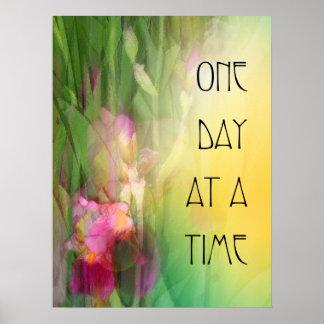 Iris rosados y rojos de un día a la vez póster