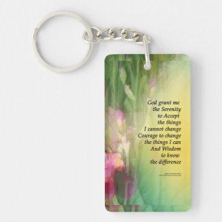 Iris rosados y rojos del rezo de la serenidad llavero rectangular acrílico a una cara