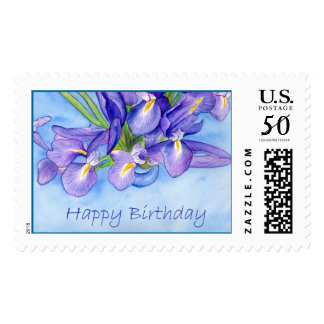 "Iris Vase ""Happy Birthday"" Stamp"